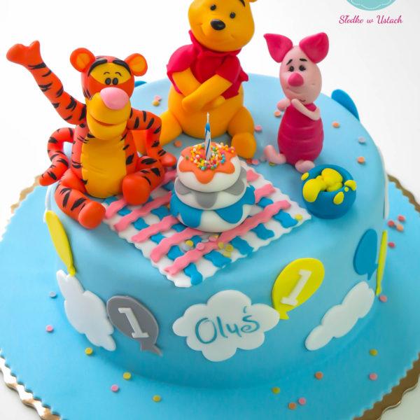 U274 - tort urodzinowy, na urodziny, dla dzieci, roczek, pierwsze urodziny, artystyczny, kubuś puchatek, warszawa