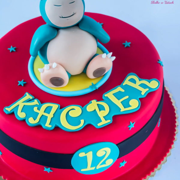 U279 - tort urodzinowy, na urodziny, dla dzieci, artystyczny,pokemon, snorlax, warszawa