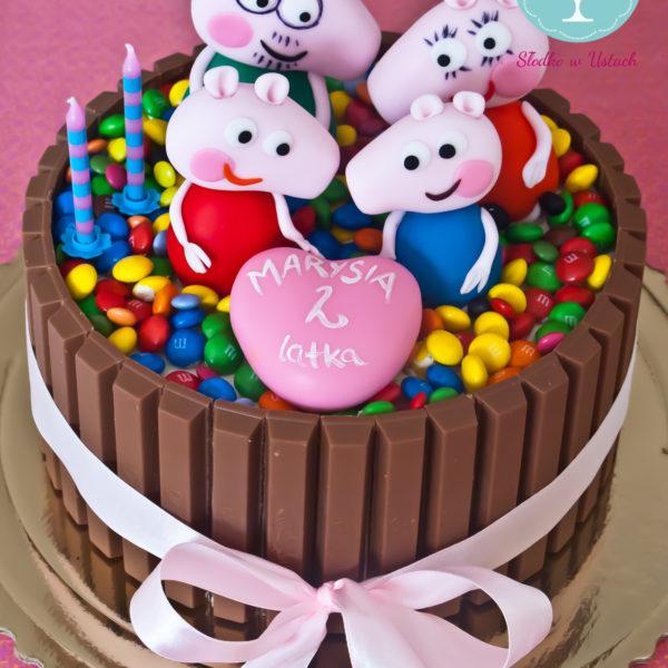 U281 - tort urodzinowy, na urodziny, dla dzieci, artystyczny, m&m's, świnka peppa, kit kat