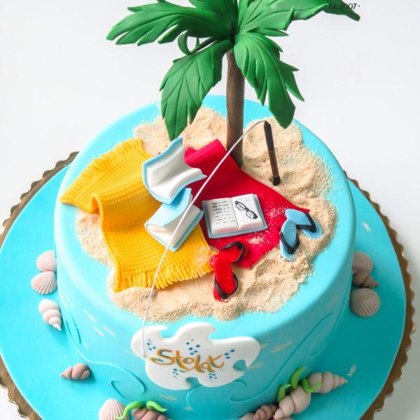 U282 - tort urodzinowy, na urodziny, artystyczny, pasja, morze, odpoczynek, książki, piasek, kocyk