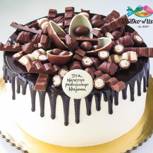 F103 - tort firmowy, dla firm, słodycze firmowe, reklamowe, prezent, personalizowane, warszawa, bez masy cukrowej, drip, cake, kinder, oblewany