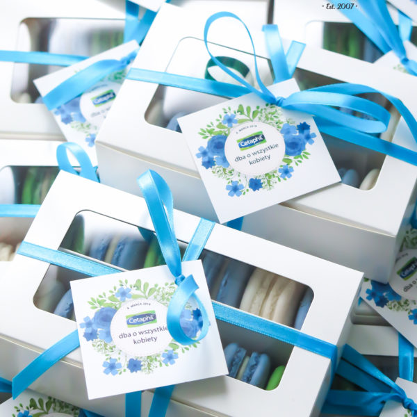 F104 - makaroniki firmowe , dla firm, słodycze firmowe, reklamowe , personalizowane, dzień kobiet, słodko w ustach, prezenty, galderma, cetaphil