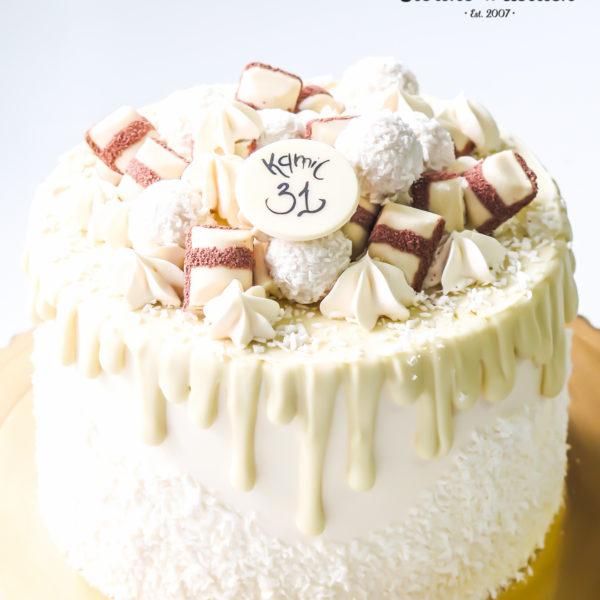 K19 - tort, drip, cake, bez masy cukrowej, urodzinowy, warszawa, z dostawą, birthday, oblewany, z polewą, Kinder, raffaello