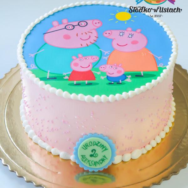 K20 - tort, klasyczny, świnka peppa, pig, z wydrukiem, ze zdjęciem, warszawa, z dostawą, urodzinowy, dla dzieci,
