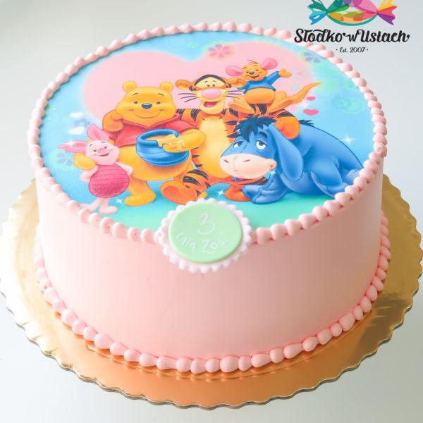 K21 - tort, klasyczny, kubuś puchatek, z wydrukiem, ze zdjęciem, warszawa, z dostawą, urodzinowy, dla dzieci,