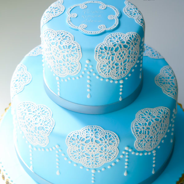 KCH11 - tort na chrzciny, chrzest, koronka, dla chłopca, warszawa, z dostawą