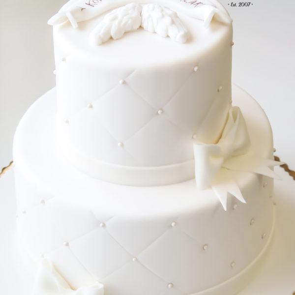 KCH29 - tort na komunię, komunijny, dla dziewczynki, skrzydła, biały , warszawa, piaseczno
