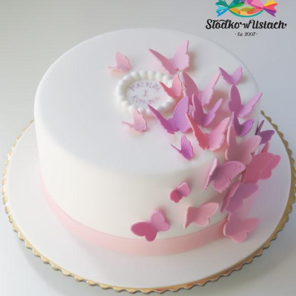 KCH51 - tort na komunie, dla dzieci, artystyczny, komunijny, motyle, dla dziewczynki