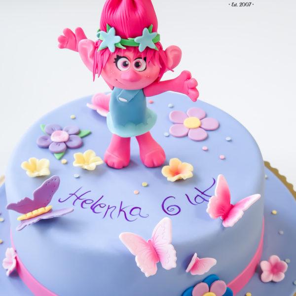 U288 - tort urodzinowy, na urodziny, dla dzieci, artystyczny, trolle, poppy, warszawa, konstancin jeziorna