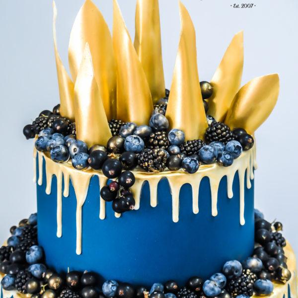 U301 - tort urodzinowy, na urodziny, eglegancki, złoty, granatowy, z owocami, owoce, warszawa, konstancin jeziorna, z dostawą,