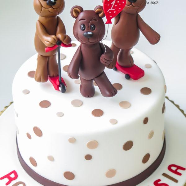 U312 - tort urodzinowy, na urodziny, dla dzieci, artystyczny, roczek, pierwsze urodziny, z misiem, warszawa, z dostawą, miś, jadą jadą misie