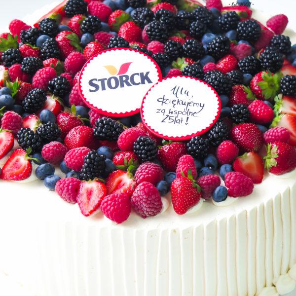 F114 - tort firmowy, dla firm, słodycze firmowe, w podziękowaniu, dla pracownika, reklamowe, prezent, personalizowane, storck , warszawa, bez masy cukrowej, z owocami