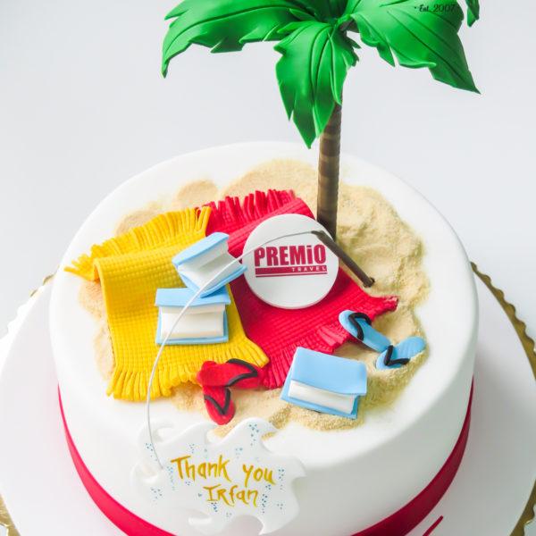 F115 - tort firmowy, dla firm, w podziękowaniu, dla pracownika , słodycze firmowe, reklamowe, prezent, personalizowane, warszawa, premio travel
