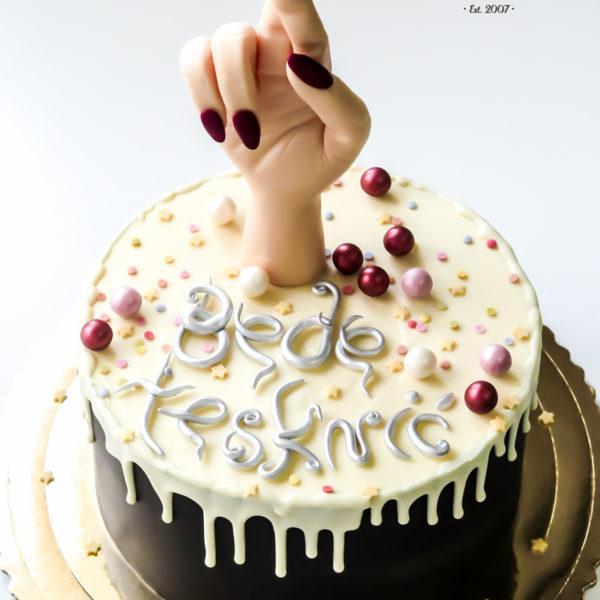 F125 - tort firmowy, dla firm, słodycze firmowe, reklamowe, prezent, personalizowane, warszawa, bez masy cukrowej, drip, na zakończenie pracy, oblewany, w podziękowaniu, dla pracownika