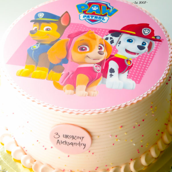 K23 - tort, klasyczny, psi patrol, ze zdjęciem, z opłatkiem, warszawa, z dostawą, urodzinowy, dla dzieci, dla dziewczynki