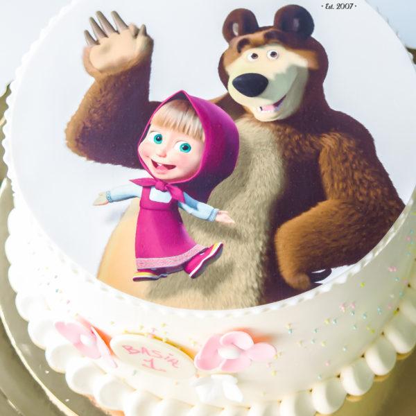 K24 - tort, klasyczny, masza i niedźwiedź, papier cukrowy, ze zdjęciem, warszawa, z dostawą, urodzinowy, dla dzieci,