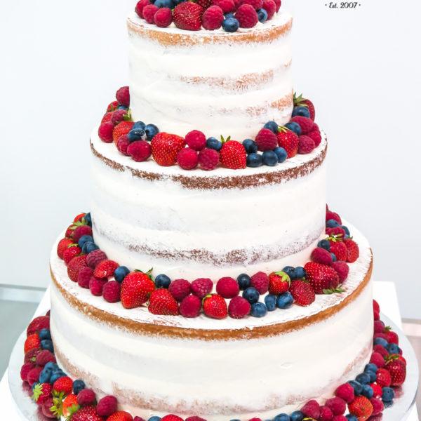 K25- tort, klasyczny, semi naked, pół golas, urodzinowy, z owocami, truskawki, maliny, z dostawą, bez masy cukrowej, cake