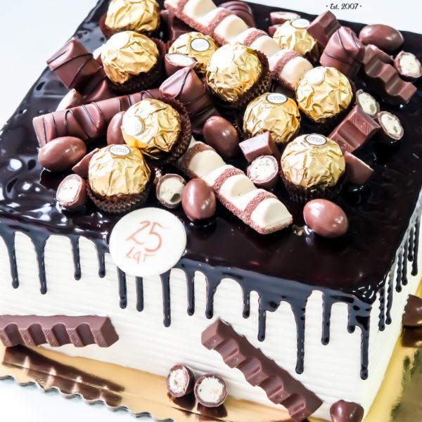 K26 - tort, drip, cake, bez masy cukrowej, urodzinowy, warszawa, z dostawą, birthday, oblewany, z polewą, Kinder, ferrero rocher