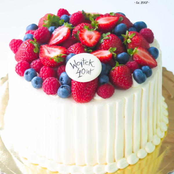 K27 - tort klasyczny, urodzinowy, z owocami, truskawki, maliny, z dostawą, bez masy cukrowej, birthday,