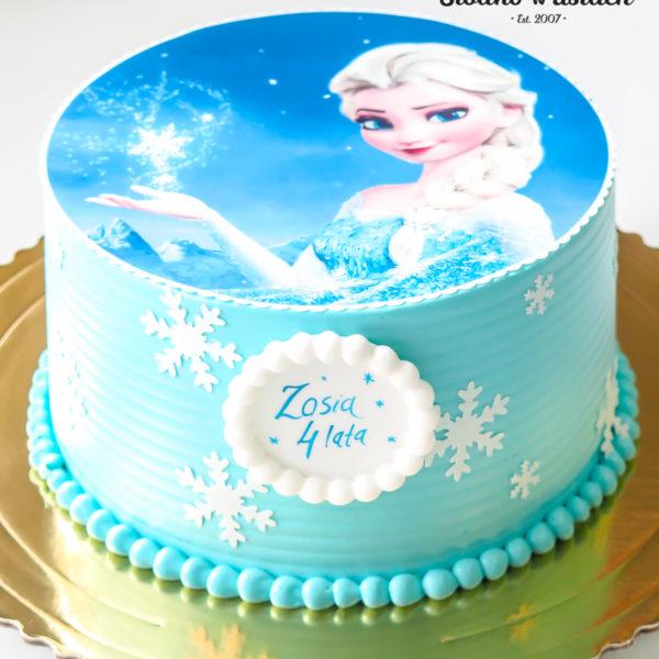K29 - tort, klasyczny, kraina lodu, elsa, ze zdjęciem, z opłatkiem, warszawa, z dostawą, urodzinowy, dla dzieci, dla dziewczynki