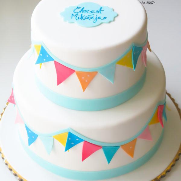 KCH57 - tort na chrzciny, chrzest, dla chłopca, girlanda, warszawa, konstancin jeziorna, piaseczno