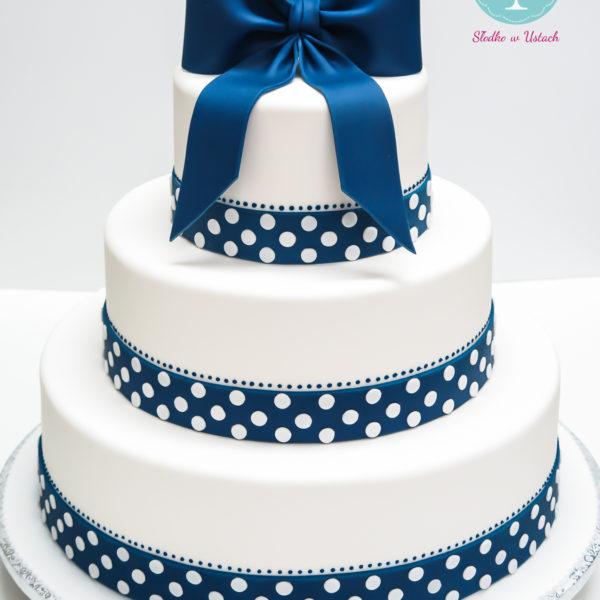 S62 - tort na ślub, wesele, ślubny, artystyczny, weselny, pinup, w grochy, z kokardą, piętrowy , warszawa, z dostawą