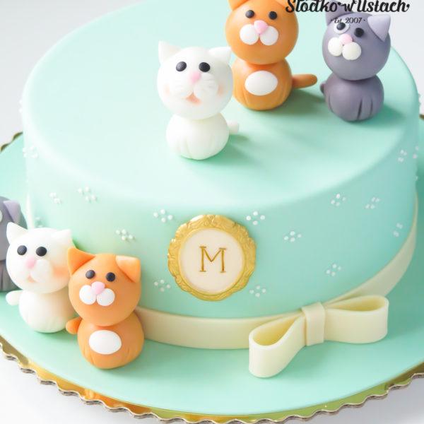 U319 - tort urodzinowy, na urodziny, dla dzieci, artystyczny, kot, zwierzaki, kotki