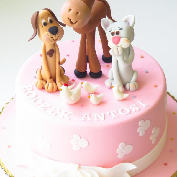 U321 - tort urodzinowy, na urodziny, dla dzieci, na roczek, artystyczny, zwierzątka, cukiernia, warszawa