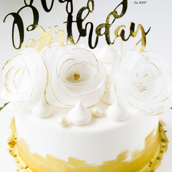 U344 - tort urodzinowy, na urodziny, złocony, artystyczny, warszawa, kobiecy