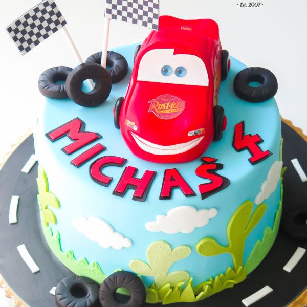 U348 - tort urodzinowy, na urodziny, dla dzieci, artystyczny, auta, cars, zygzak, mcqueen, warszawa
