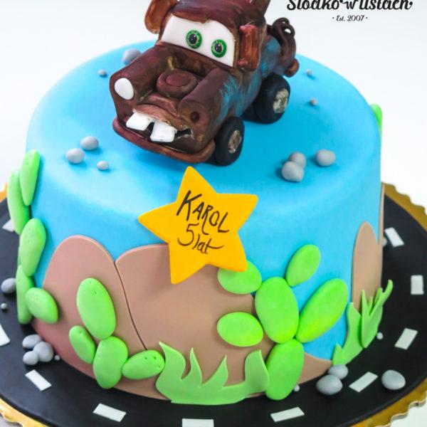 U351 - tort urodzinowy, na urodziny, dla dzieci, artystyczny, auta, złomek, cars, zygzak, mcqueen, warszawa