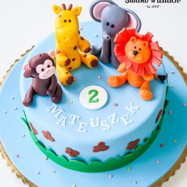 U354 - tort urodzinowy, na urodziny, dla dzieci, artystyczny, zwierzątka