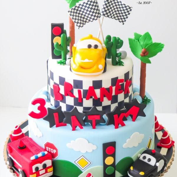 U357 - tort urodzinowy, na urodziny, dla dzieci, artystyczny, auta, cars, zygzak, mcqueen, warszawa