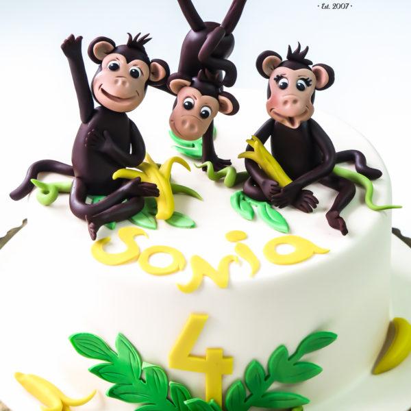 U359 - tort urodzinowy, na urodziny, dla dzieci, artystyczny, małpki
