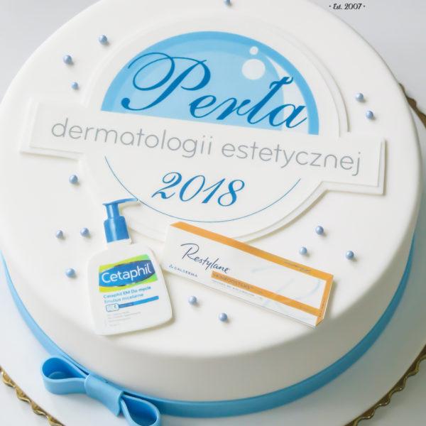 F127 - tort firmowy, artystyczny, dla firm, galderma, słodycze firmowe, reklamowe, perły dermatologii estetycznej, personalizowane, warszawa, z logo, event