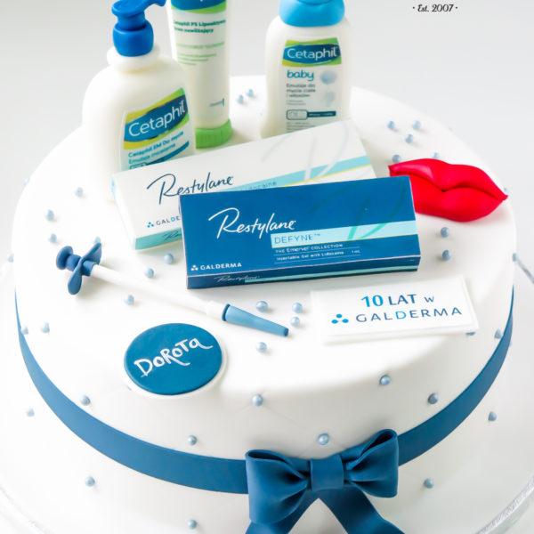 F132 - tort firmowy, artystyczny, dla firm, galderma, słodycze firmowe, reklamowe, w podziękowaniu, dla pracownika, personalizowane, warszawa, z logo, event
