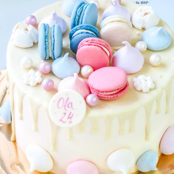 K32 - tort, drip, cake, z bezami,, bezy, bez masy cukrowej, makaroniki, urodzinowy, warszawa, z dostawą, birthday