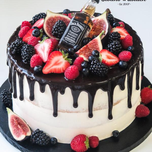 K35 - tort, drip, cake, bez masy cukrowej, męski, dla faceta, jack daniels, urodzinowy, warszawa, z dostawą, birthday, oblewany, z polewą