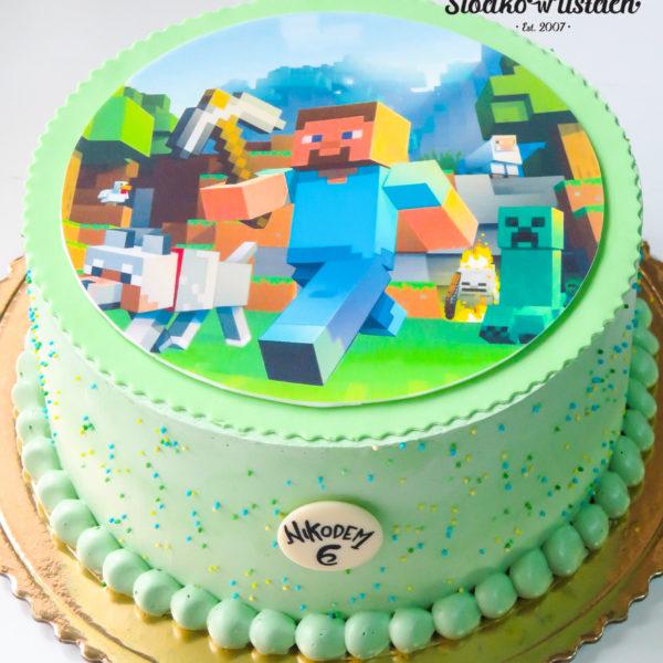 K37 - tort, klasyczny, minecraft, ze zdjęciem, z wydrukiem, warszawa, z dostawą, urodzinowy, dla dzieci