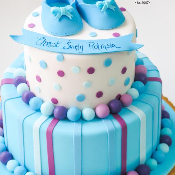 KCH2 - tort na chrzciny, chrzest, dla chłopca, buciki, warszawa, konstancin jeziorna, piaseczno