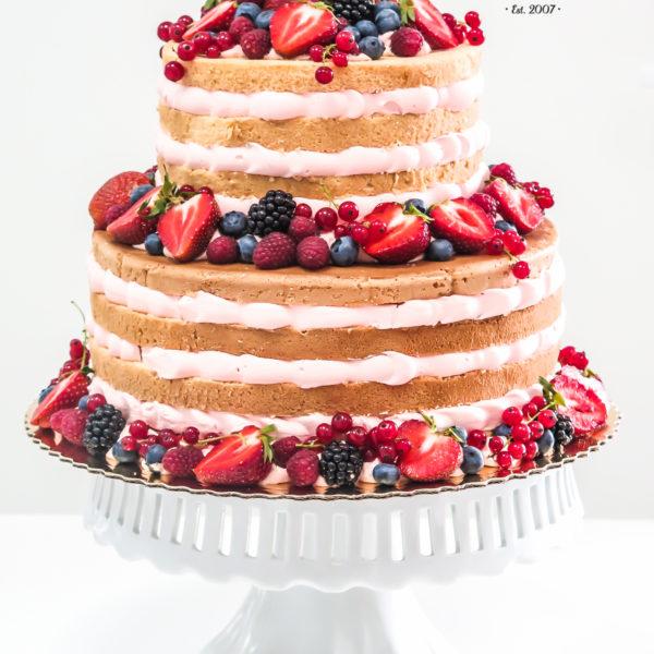 KCH36 - tort na komunię, komunijny ,chrzciny ,chrzest, piętrowy, z owocami, naked,