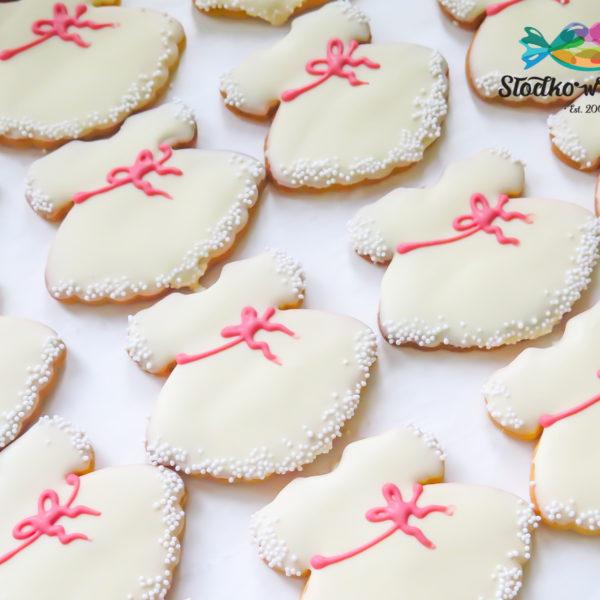 KCH59 - ciastka, kruche, na chrzciny, chrzest, dla dziewczynki, dla gości, w czekoladzie, prezenty, słodki stół