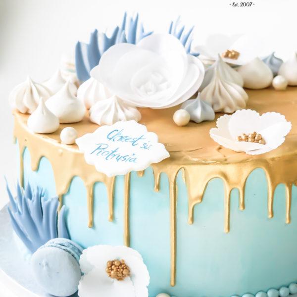 KCH62 - tort na chrzciny, chrzest, dla chłopca, drip, bez masy cukrowej, złocony, warszawa, konstancin jeziorna, piaseczno