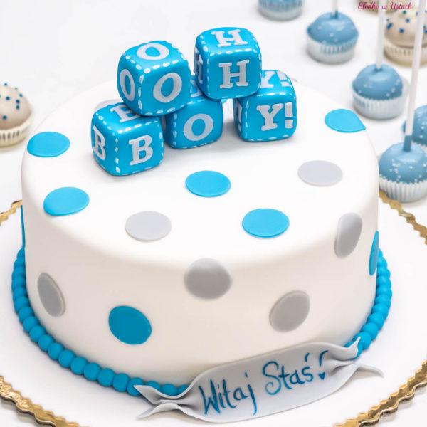 KCH63 - tort na chrzciny, chrzest, baby shower, dla chłopca, z dostawą
