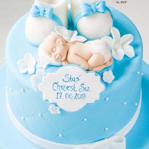 KCH64 - tort na chrzciny, chrzest, dla chłopca, buciki, warszawa, konstancin jeziorna, piaseczno