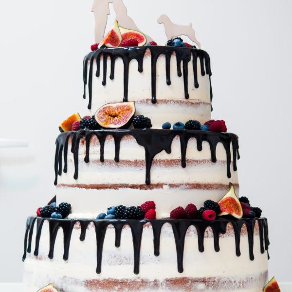 S64 - tort na ślub, wesele, ślubny, weselny, drip, seminaked, z owocami, piętrowy , cake, warszawa, z dostawą, owoce, topper