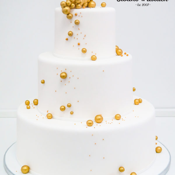 S68 - tort na ślub, wesele, ślubny, weselny, biel, złoto, złocony, złoty, piętrowy , cake, piaseczno, z dostawą,