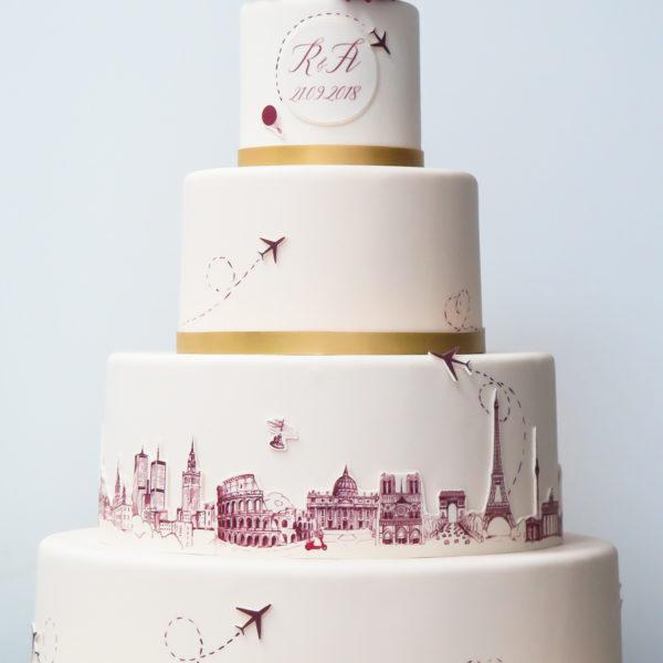 S70 - tort na ślub, wesele, ślubny, artystyczny, weselny, podróżniczy, piętrowy , cake, warszawa, z dostawą, z kwiatami