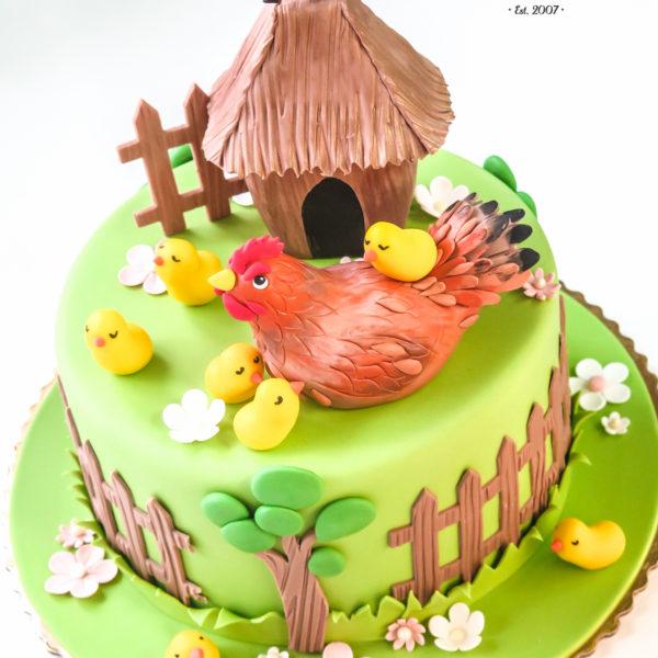 U368 - tort urodzinowy, na urodziny, dla dzieci, artystyczny, kurki, kurnik, konstancin jeziorna, warszawa