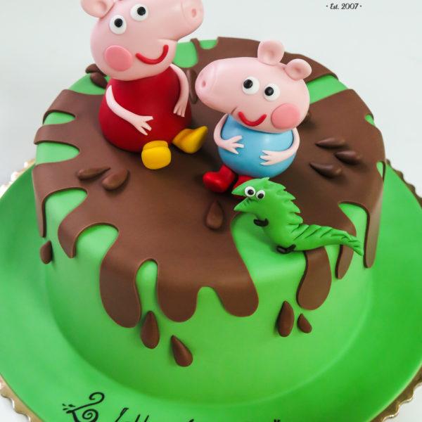 U370 - tort urodzinowy, na urodziny, dla dzieci, artystyczny, świnka peppa, george, warszawa